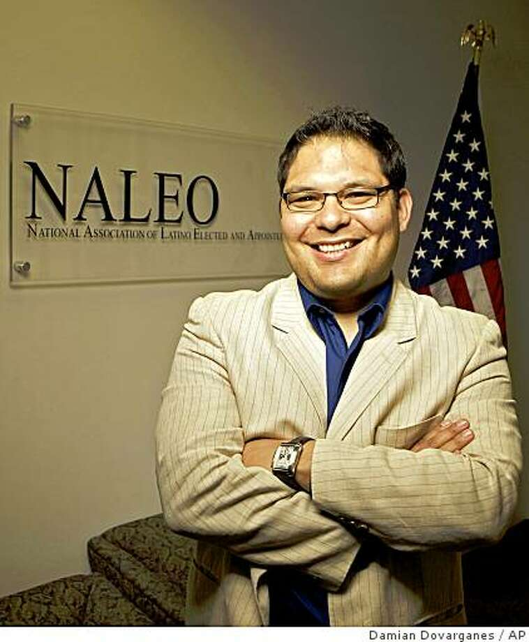 """Efrain Escobedo, senior director of civic engagement for the National Association of Latino Elected Officials (NALEO), poses at NALEO headquarters in Los Angeles on Friday, March 13, 2009. Speaking about the organization's plans for the 2010 Census, Escobedo said, """"We're prepared to mount our own national campaign to count ourselves."""" (AP Photo/Damian Dovarganes) Photo: Damian Dovarganes, AP"""