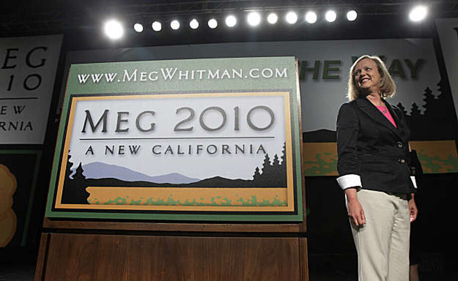 Republican gubernatorial candidate hopeful Meg Whitman takes the stage during a walk-through before an election night gathering in Los Angeles, Tuesday, June 8, 2010. Photo: Jae C. Hong, AP