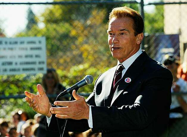 LOS ANGELES, CA - NOVEMBER 02:  California Gov. Arnold Schwarzenegger speaks after voting in the midterm election at Kenter Canyon Elementary School on November 2, 2010 in Los Angeles, California. Former eBay CEO and Republican candidate Meg Whitman is running against California Attorney General and Democratic candidate Jerry Brown for the Governor's seat while U.S. Sen. Barbara Boxer (D-CA) is in a tight race against Republican senatorial candidate and former head of Hewlett-Packard Carly Fiorina. Photo: Kevork Djansezian, Getty Images