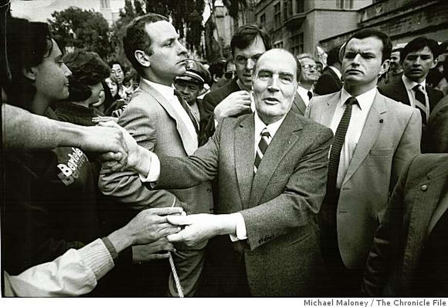 Wayback22_PH.jpg March 26, 1984 - French president Francois Mitterand visited the Bay Area in 1984.Michael Maloney/credit} Photo: Michael Maloney, The Chronicle File