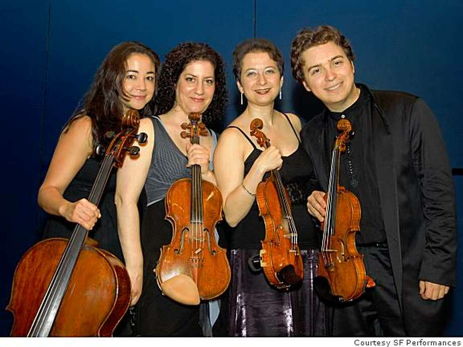 Aviv String Quartet: from left, cellist Rachel Mercer, violist Shuli Waterman, violinists Evgenia Epshtein and Sergey Ostrovsky Photo: Courtesy SF Performances