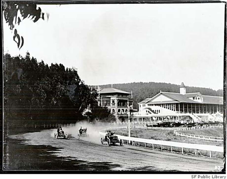 Automobiles race on the Ingleside racetrack circa 1910 after the track closed in 1905. Photo: SF Public Library