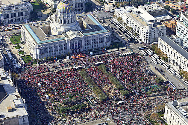 An aerial view of the rally at Civic Cenetr Plaza, as the City of San Francisco celebrates the World Series Champion San Francisco Giants with a parade down Market Street, on Wednesday Nov. 3, 2010 in San Francisco, Calif. Photo: Brian Haux, Skyhawkphoto.com