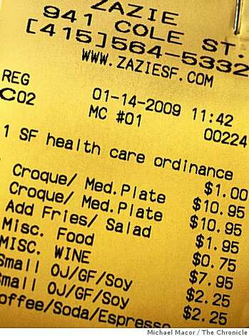 """Zazie"" restaurant in the Cole Valleyt district of San Francisco, Calif. Owner Jennifer Paillet provides the required health care to her employees by adding a surcharge of $1 per customer onto each bill and is spelled out clearly for the customers to see on each check. Photo: Michael Macor, The Chronicle"