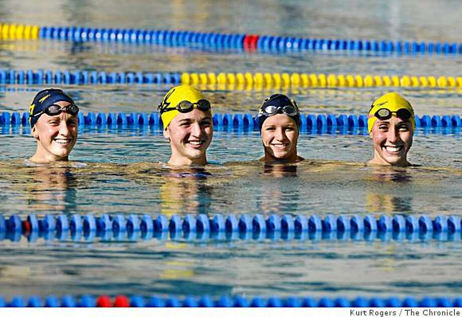 Cal Swimmers Dana Vollmer, Erica Dagg, Hannah Wilson and Madison Kennedy they set an NCAA record last Saturday in the 400- yard freestyle relay leading the Bears to their first ever Pac-10 title.on Thursday  Mar 5,  2009 in Berkeley, Calif Photo: Kurt Rogers, The Chronicle