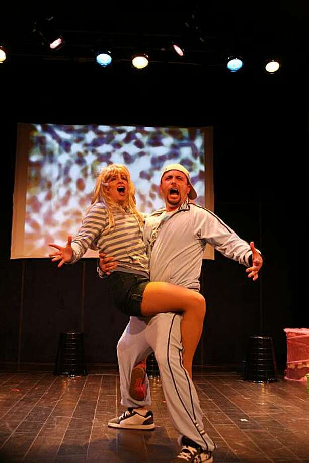 "Co-author Molly Bell (left), in the title role of Britney Spears, cavorts with Keith Pinto in ""Becoming Britney"" at Center Rep Photo: Dixie Sheridan"
