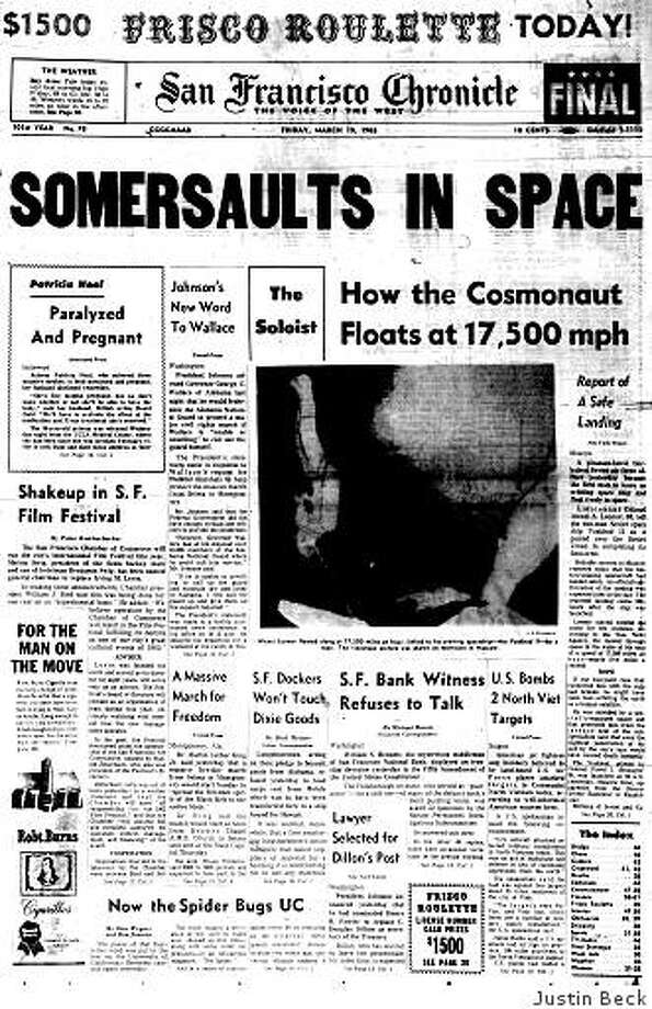 March 19, 1965 ? Alexei A. Leonov is back on Earth after becoming the first person to walk in space a day earlier. The 30-year-old cosmonaut spent 10 minutes outside his spacecraft as it passed over the Soviet Union at 17,500 miles per hour. Meanwhile, Dr. Martin Luther King, Jr. is preparing to lead thousands of civil rights activists on a five-day march from Selma, Alabama to the state's capital of Montgomery. Photo: Justin Beck