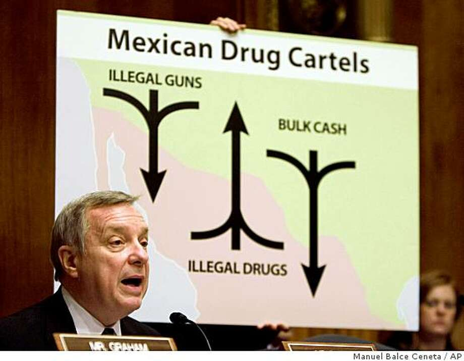Senate Crime and Drugs subcommittee Chairman Sen. Richard Durbin, D-Ill. gives his opening statement during a hearing on law enforcement responses to the Mexican drug cartels, Tuesday, March 17, 2009, on Capitol Hill in Washington.  (AP Photo/Manuel Balce Ceneta) Photo: Manuel Balce Ceneta, AP
