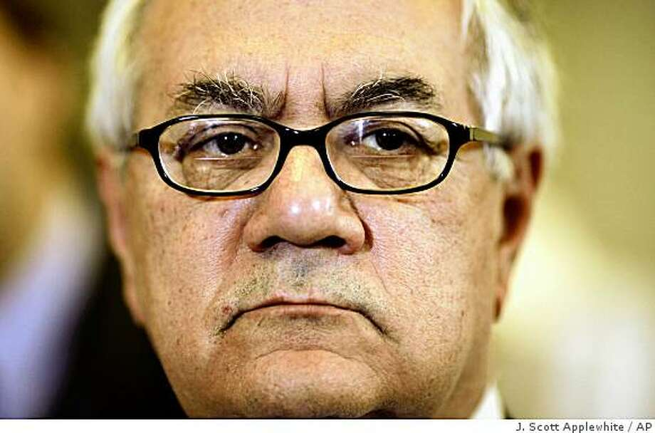 . Barney Frank, chairman of the House Financial Services Committee, urged the government to cancel the retention bonuses at Fannie Mae.House Financial Services Committee Chairman Rep. Barney Frank, D-Mass. meets reporters on Capitol Hill in Washington, Tuesday, March 17, 2009, where he joined the torrent of criticism aimed at American International Group (AIG).  (AP Photo/J.  Scott Applewhite) Photo: J. Scott Applewhite, AP