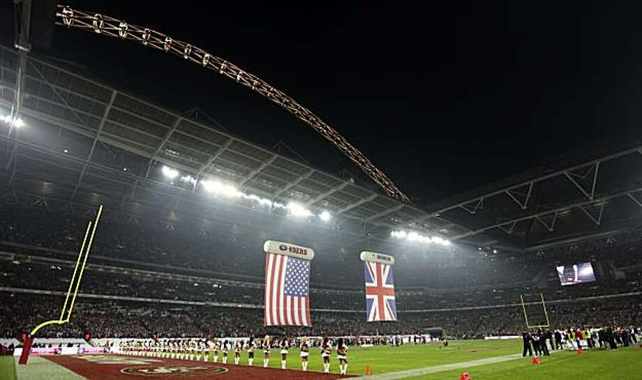 A general view of Wembley Stadium before the start of the NFL Football match between the Denver Broncos and San Francisco 49ers in London, Sunday Oct. 31, 2010. Photo: Alastair Grant, AP