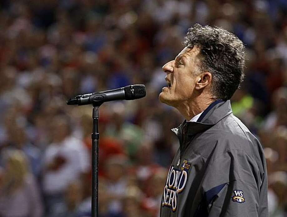 Lyle Lovett sings the national anthem before Game 4 of baseball's World Series between the San Francisco Giants and the Texas Rangers Sunday, Oct. 31, 2010, in Arlington, Texas. Photo: Matt Slocum, AP
