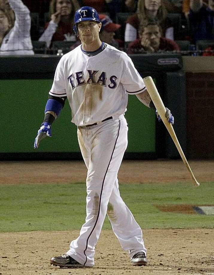 Texas Rangers' Josh Hamilton reacts after striking out to end Game 4 of baseball's World Series against the San Francisco Giants Sunday, Oct. 31, 2010, in Arlington, Texas. Giants won 4-0 to take a 3-1 lead in the series. Photo: Eric Gay, AP
