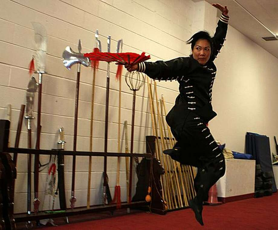 Karen Choy Singer, 50, practicing Kung Fu at California Kung Fu & Tai Chi Institute in Redwood City, Calif., on Thursday, September 23, 2010. Photo: Liz Hafalia, The Chronicle