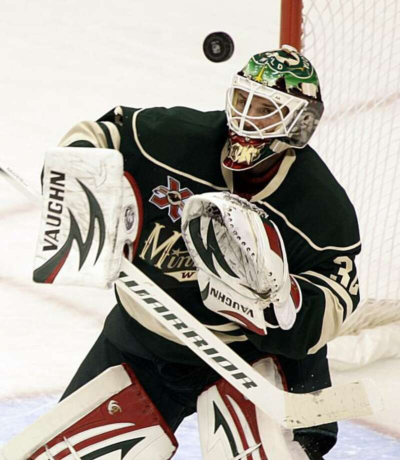 Minnesota Wild goalie Niklas Backstrom, of Finland, eyes the puck during the third period of an NHL hockey game Tuesday Nov. 2, 2010, in St. Paul, Minn. Backstrom had 36 saves on the night as the Wild shut out the Sharks, 1-0. Photo: Paul Battaglia, AP