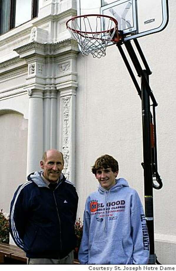 St. Joseph coach Don Lippi and son Dominic, a sophomore on the NorCal champion Pilots Photo: Courtesy St. Joseph Notre Dame
