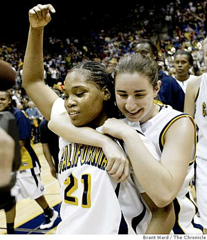 Leading scorer Alexis Gray-Lawson is hugged by Lauren Greif as she leaves the court Sunday. Cal beat Stanford at Haas Pavilion. Photo: Brant Ward, The Chronicle