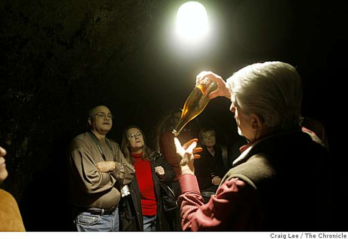 The Schramsberg tasting room which includes a tour of their caves in Calistoga, Calif., on January 28, 2009. Ron Forino, taste room host, shows the process of making sparkling wine in the cave.