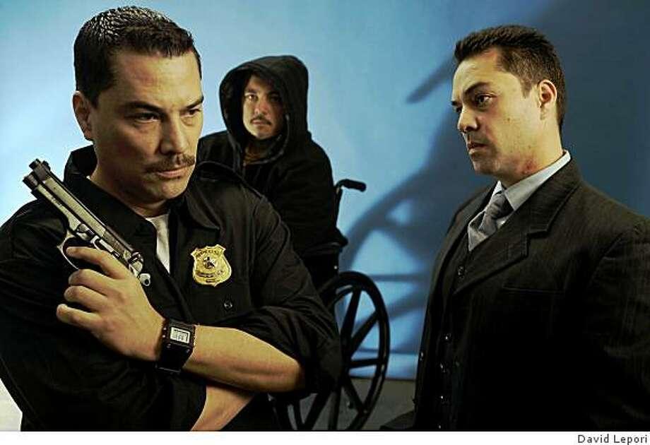 """Mauricio Mendoza (left), Ruben Gonzalez and Carlos Mendoza in Richard Montoya's """"Water & Power"""" at Teatro Vision. Photo: David Lepori"""
