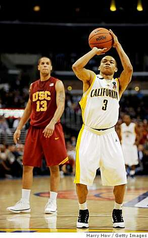 LOS ANGELES, CA - MARCH 12:  Guard Jerome Randle #3 of the California Golden Bears a free throw against the USC Trojans during their game in the Pacific Life Pac-10 Men's Basketball Tournament at the Staples Center on March 12, 2009 in Los Angeles, California.  (Photo by Harry How/Getty Images) Photo: Harry How, Getty Images