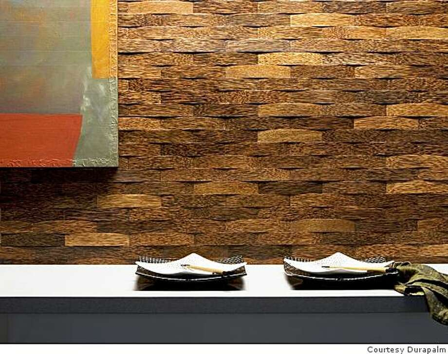 Woven Duraplanmm strips form a three-dimensional wall paneling Photo: Courtesy Durapalm, Courtesy Durapalm