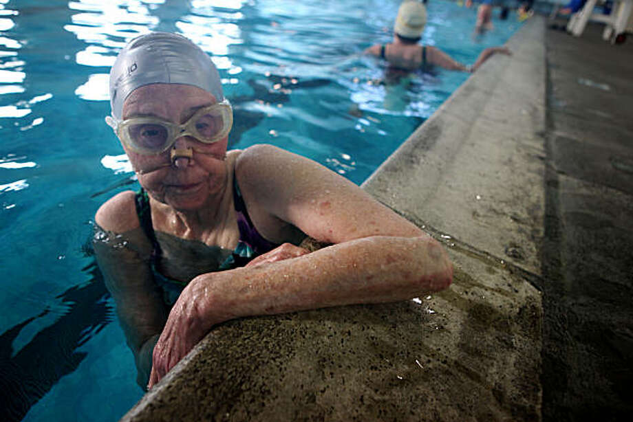 Joyce Bass, of San Leandro,  joins other seniors in the pool at the Boys and Girls club on Tuesday Oct. 26, 2010 in San Leandro, Calif. Due budget issues classes and hours at the pool and rec center have been drastically cut. San Leandro is asking voters to approve a sales tax hike, Measure Z, which would raise the sales tax to 10 percent in an effort to save some of the city's programs. Photo: Mike Kepka, The Chronicle
