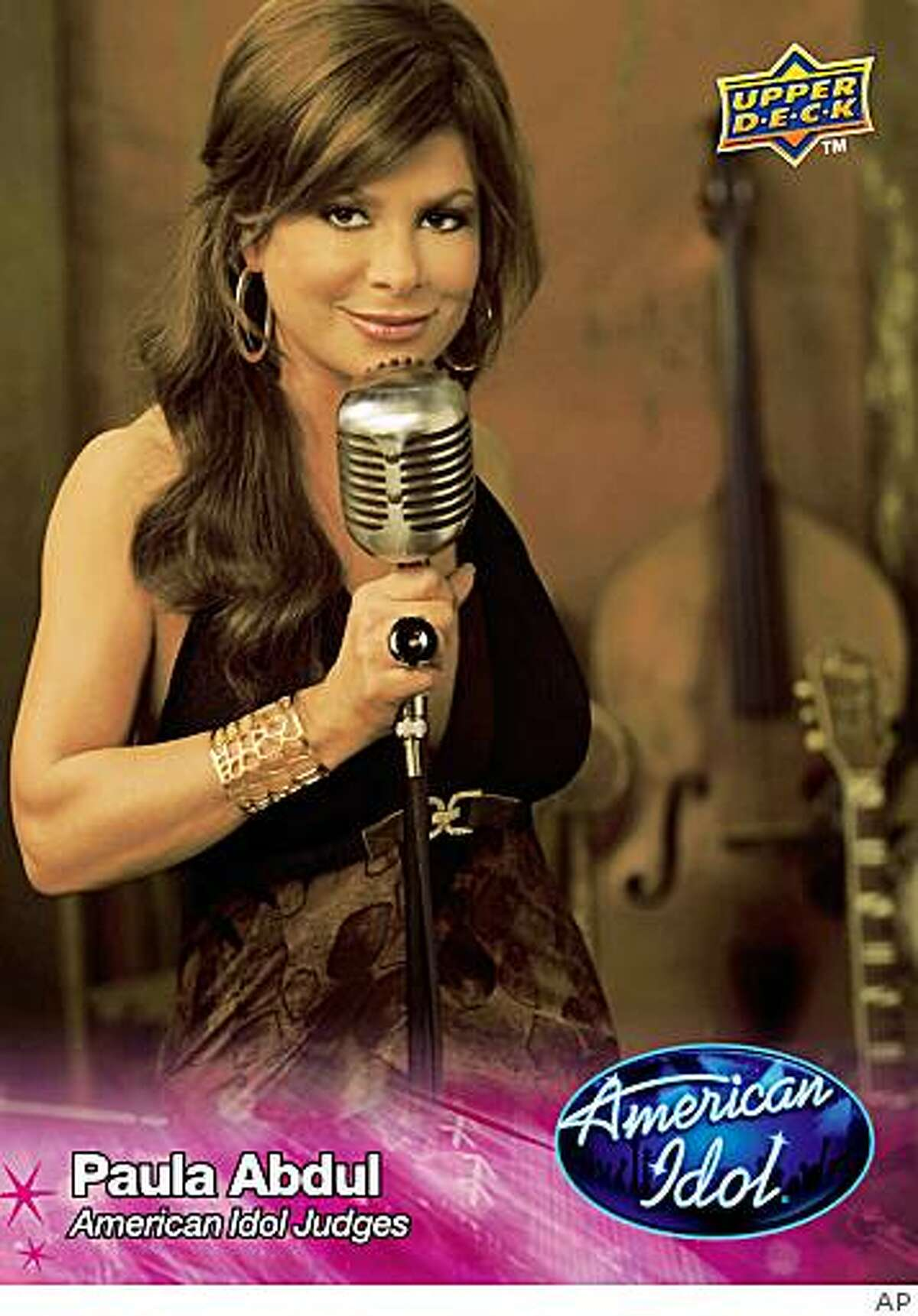 """In this trading card image released by FremantleMedia and trading card publisher Upper Deck, an """"American Idol"""" trading card featuring judge Paula Abdul, is shown."""