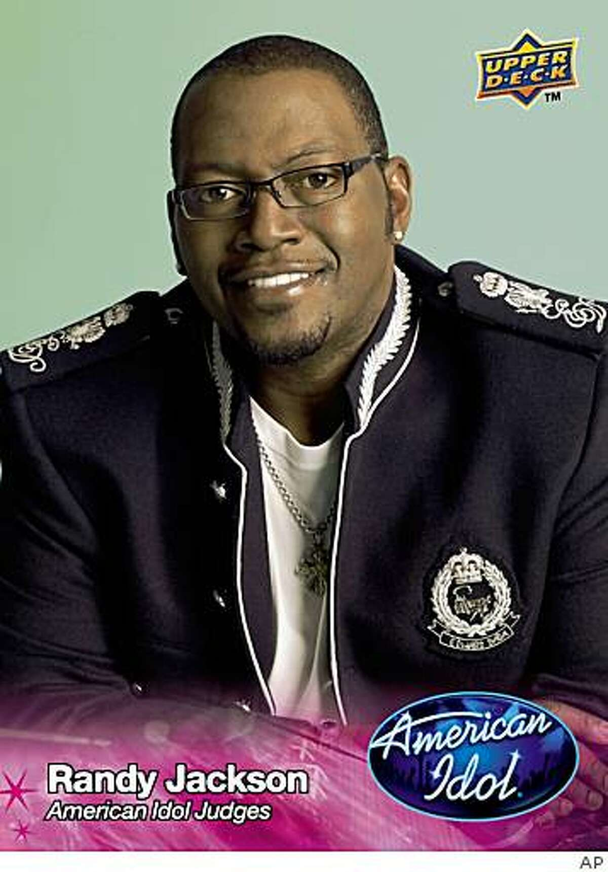 """In this trading card image released by FremantleMedia and trading card publisher Upper Deck, an """"American Idol"""" trading card featuring judge Randy Jackson, is shown."""