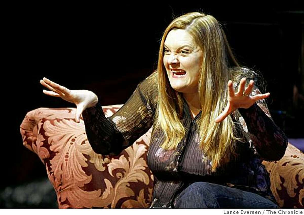 """Megan Cavanagh a TV and film actress is now staring as the musical lead in """"High Spirits,"""" at the Eureka Theatre, 215 Jackson St in San Francisco. between Battery and Davis streets. She plays an eccentric, bicycle-riding, seance-conducting medium, Madame Arcati. The show is a musical version of Noel Coward's """"Blithe Spirit"""" and the same character was in the past played by Margaret Rutherford, Beatrice Lillie, Geraldine Page and Angela Lansbury.Thursday, March 12, 2009."""