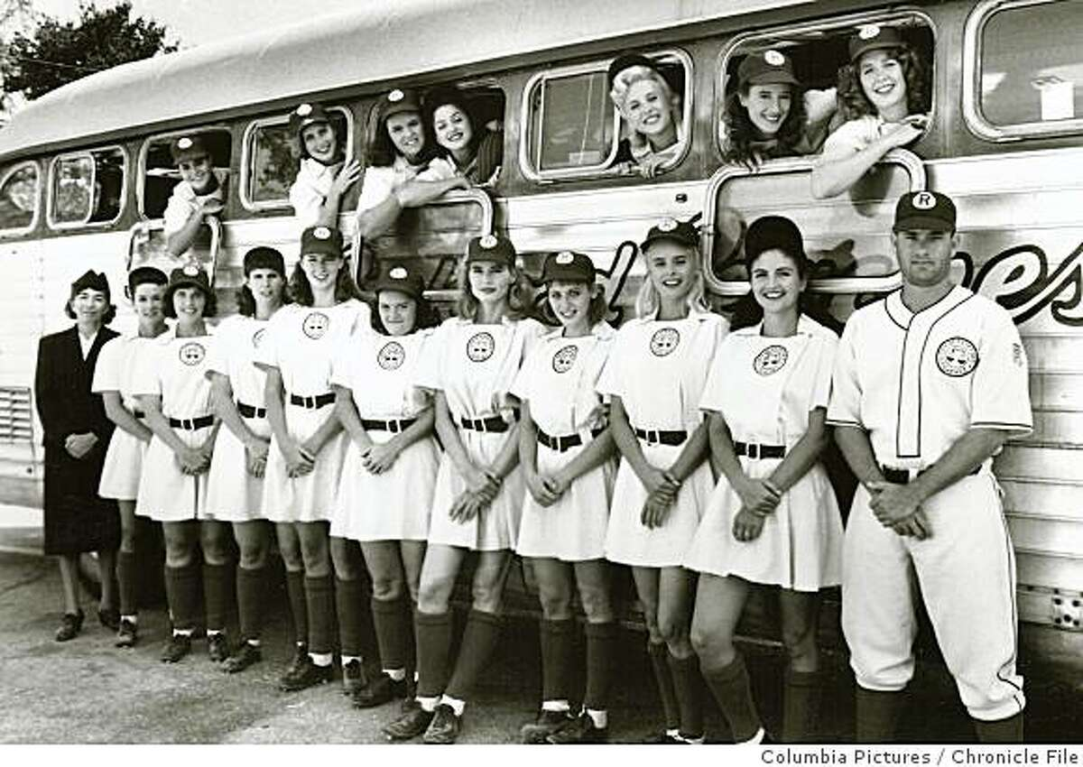 """Cavanaugh17.jpg 1991 - Cast from the movie, """"A League of Their Own."""" Megan Cavanaugh is the short woman with hunched shoulders (sixth from the left).Columbia Pictures/credit}"""