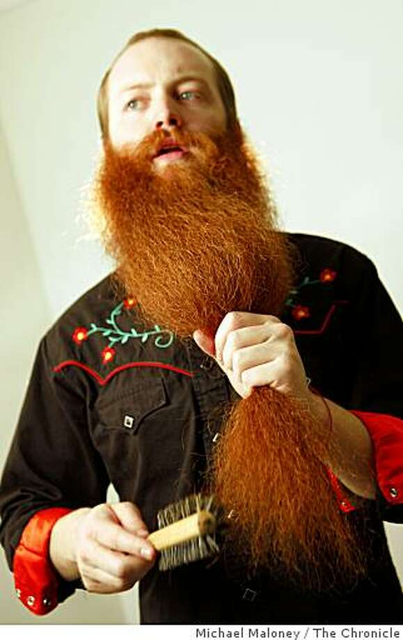 Jack Passion, a San Francisco resident keeps his award winning beard in top competitive shape with combing, brushing and a few top secret ingredients on Monday, March 9, 2009. He is the current champion and will be competing again in the 2009 World Beard & Moustache Championships held this year in Alaska. Photo: Michael Maloney, The Chronicle