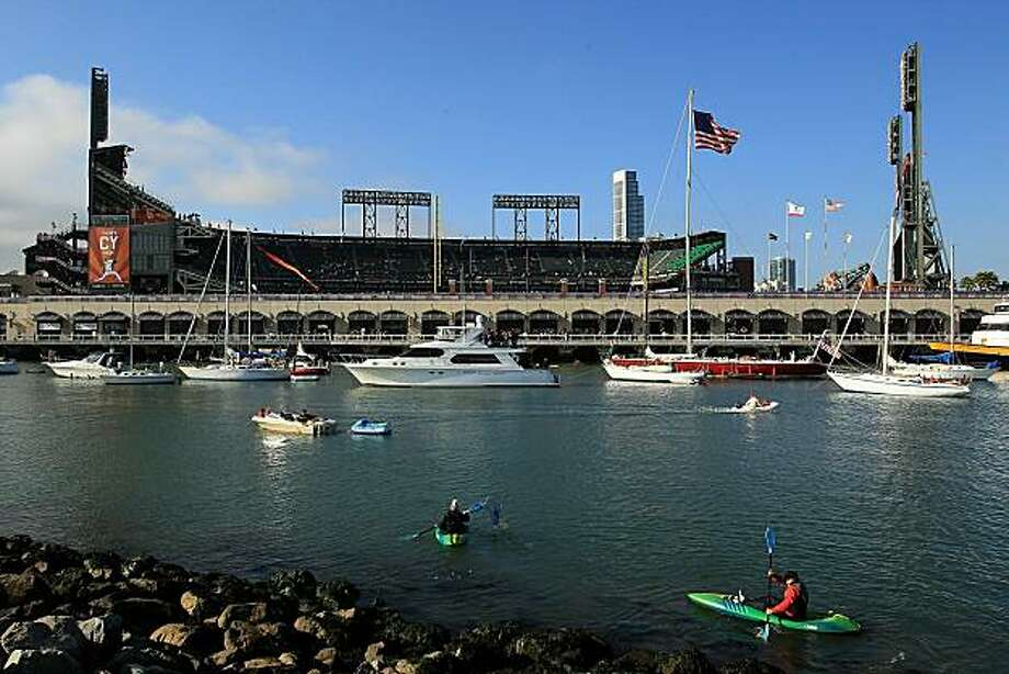 SAN FRANCISCO - OCTOBER 20:  A general view of McCovey Cove and AT&T Park before Game Four of the NLCS during the 2010 MLB Playoffs between the San Francisco Giants and the Philadelphia Phillies on October 20, 2010 in San Francisco, California. Photo: Ezra Shaw, Getty Images