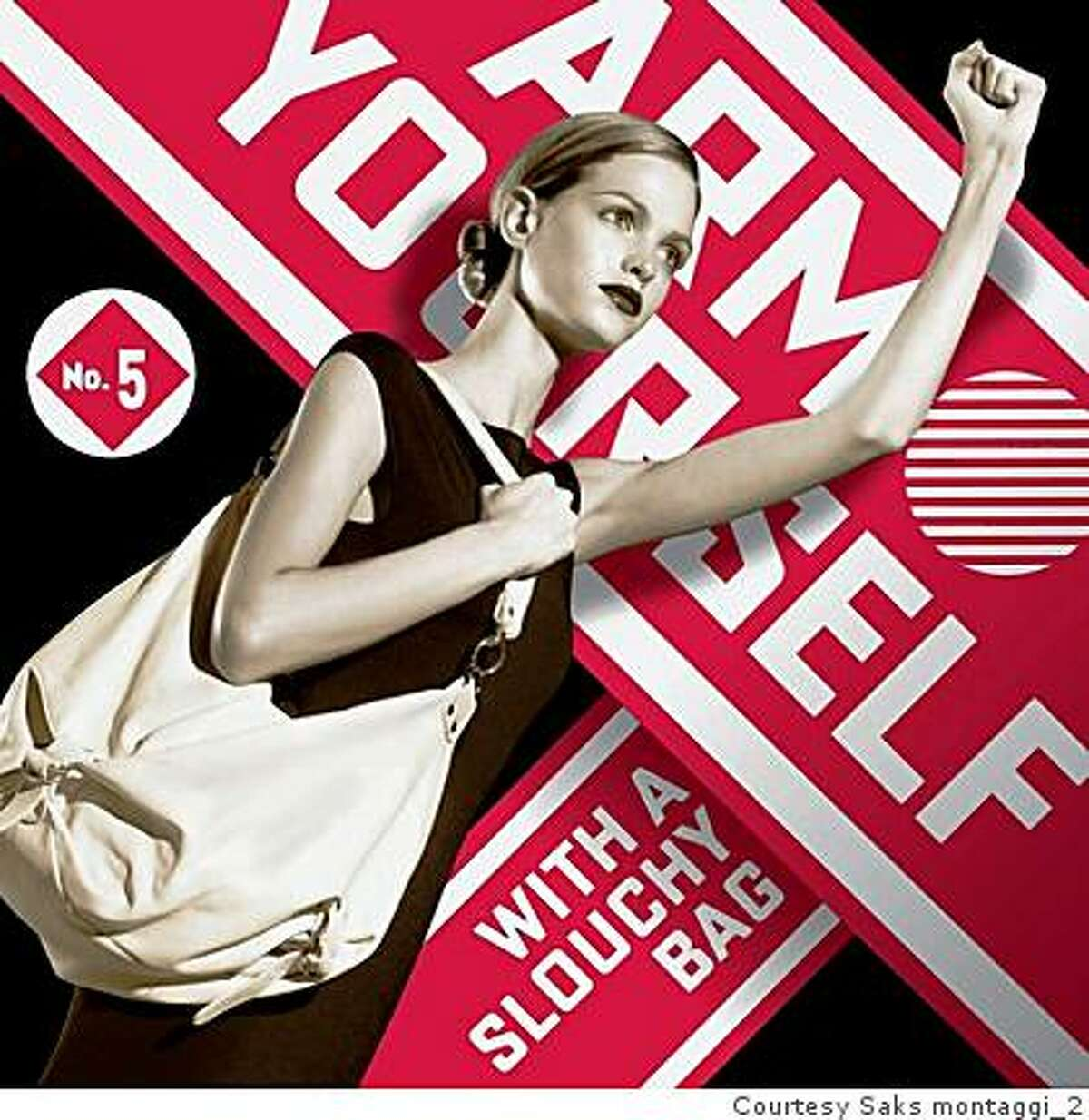 """This is an image from Saks' spring """"Want It"""" campaign designed by artist Shepard Fairey."""
