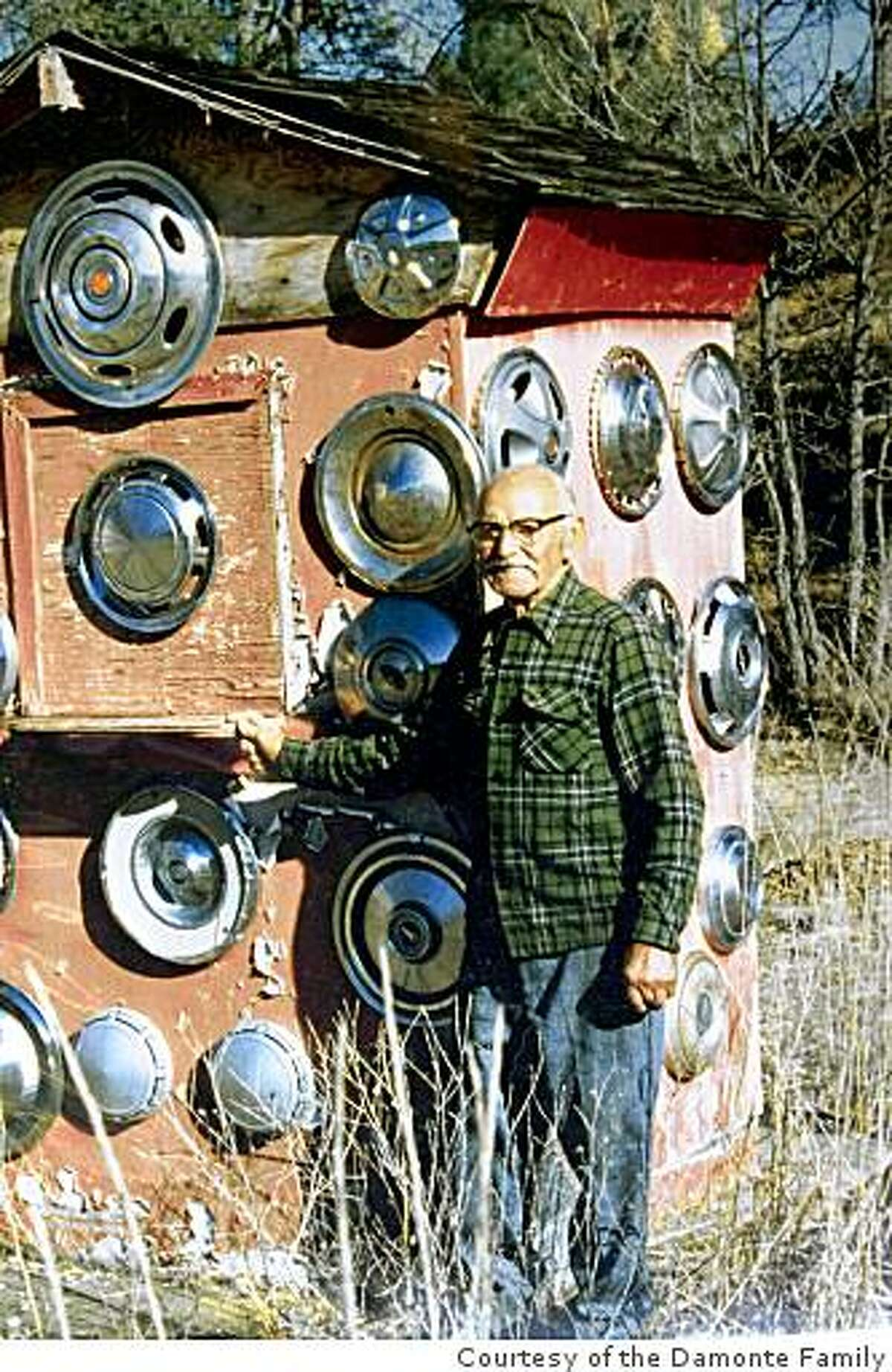 Litto Damonte (1892-1985) started collecting hubcaps on his Pope Valley ranch. Presently, they now have 5,000 and it's become a quirky roadside attrcation. People make pilgrimiges with sacks of hupcaps to Pope Valley, Calif.