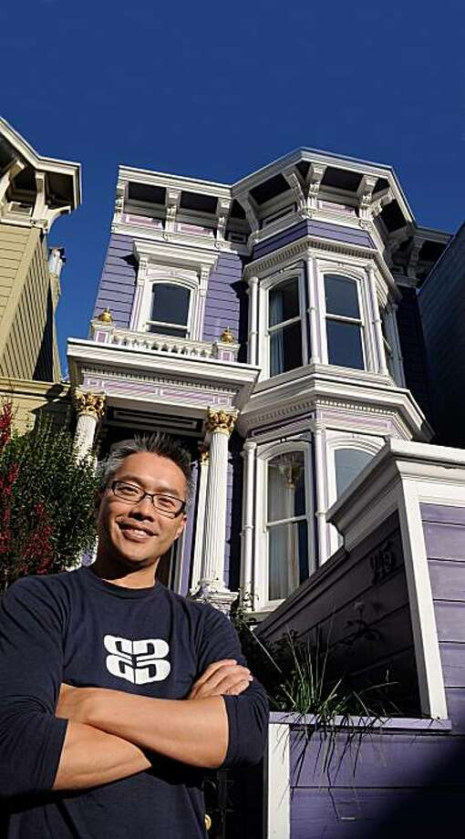 Kong Son outside the home at 945 Valencia for the real estate cover. Photo: Liddy Freeman, BlockShopper