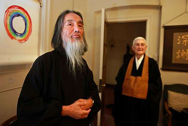 Kazuaki Tanahashi (left), a Buddhist scholar, artist and teacher, getting ready for an art show at the San Francisco Zen Center in San Francisco, Calif., on Friday, October 22, 2010.  Kazuaki has been working on a translation of Dogen, one of the great thinkers in Zen Buddhism.  It took him 50 years to complete the translation of the 13th century master's work. Photo: Liz Hafalia, The Chronicle