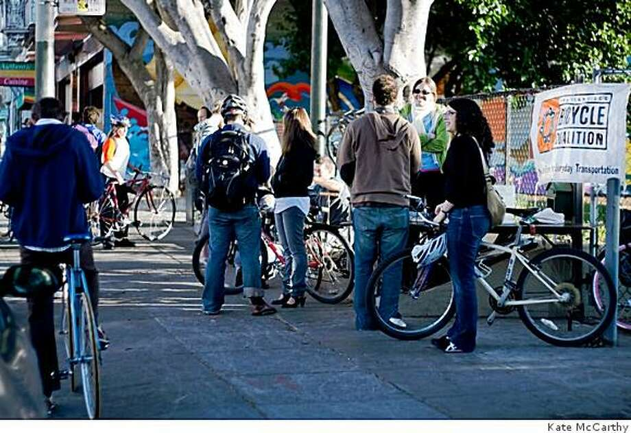 Cyclists line up to take part in a free service offered by the San Francisco Bicycle Coalition's monthly service station. Photo: Kate McCarthy