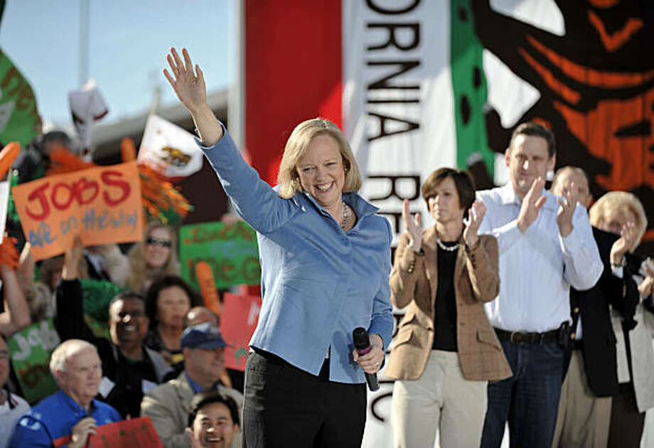 Republican gubernatorial candidate Meg Whitman waves to supporters as she arrives at  a campaign rally held at the Orange County Fairgrounds in Costa Mesa, Calif. Saturday, Oct. 30, 2010. Photo: Denis Poroy, AP
