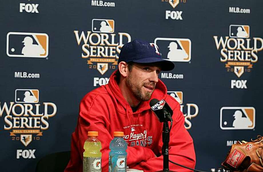 SAN FRANCISCO - OCTOBER 26:  Texas Rangers starting pitcher Cliff Lee speaks to reporters at AT&T Park on October 26, 2010 in San Francisco, California.  The San Francisco Giants will face the Texas Rangers in the first game of the World Series on Wednesday at AT&T Park. Photo: Justin Sullivan, Getty Images