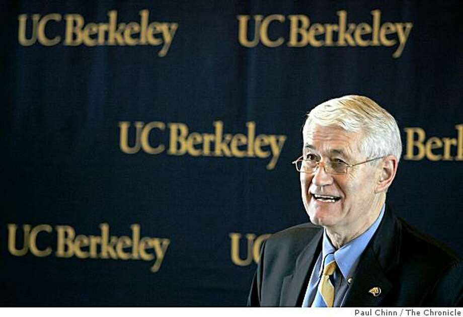 UC Berkeley chancellor Robert Birgenau announced the latest plans for major renovations of Memorial Stadium, the Business School and the Law School on 11/10/05 in Berkeley, Calif. Photo: Paul Chinn, The Chronicle