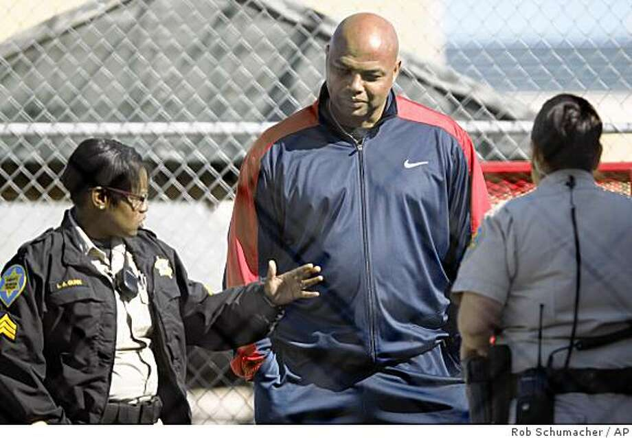 Former NBA star Charles Barkley has begun his three-day sentence on a drunken-driving charge by reporting to Maricopa County's Tent City in Phoenix on Saturday, March 7, 2009. The 45-year-old pleaded guilty last month to two misdemeanor DUI charges stemming from his Dec. 31, 2008, arrest shortly after leaving a Scottsdale nightclub and failing a field sobriety test. (AP Photo/The Arizona Republic, Rob Schumacher) **MARICOPA COUNTY OUT, MESA TRIBUNE OUT, MAGS OUT, NO SALES, MANDATORY CREDIT** Photo: Rob Schumacher, AP