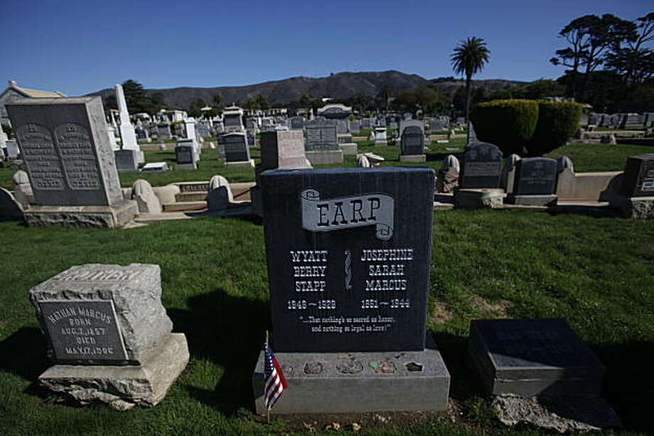 A flag is seen next to  Wyatt Earp's grave at Hills of Eternity Memorial Park on Tuesday, October 26, 2010 in Colma, Calif. Photo: Lea Suzuki, The Chronicle