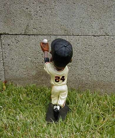 "A Willie May ""Catch"" bobblehead in a snapshot by Giants fan Russell Bellamy of Lemoore. He has been a fan since 1956. Photo: Courtesy Russell Bellamy"