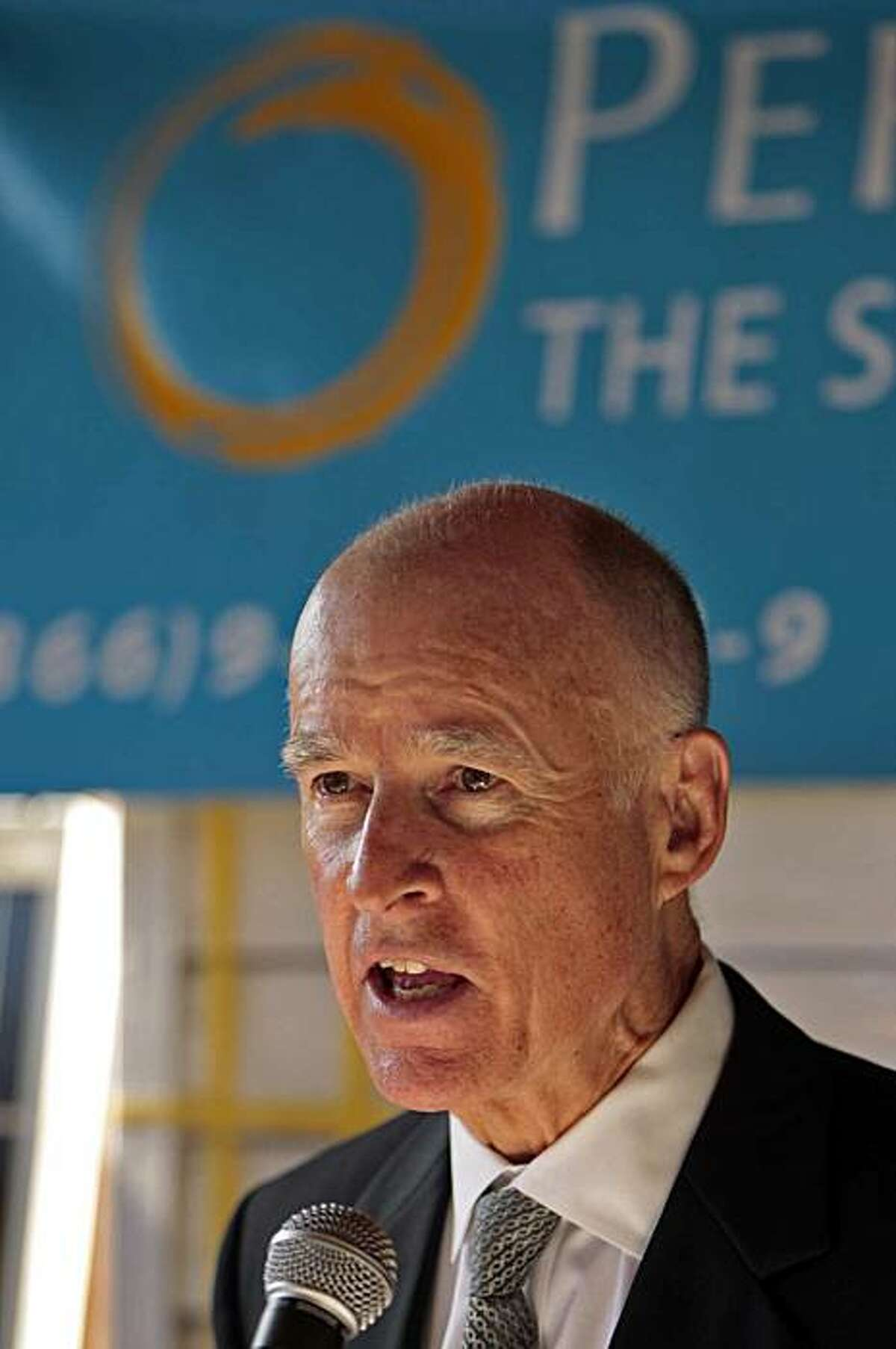 Attorney General Jerry Brown, Democratic gubernatorial candidate, speaks to a crowd during a news conference, September 20, 2010, at PermaCity Solar, Inc., a Los Angeles Mid-City business. (Al Seib/Los Angeles Times/MCT)