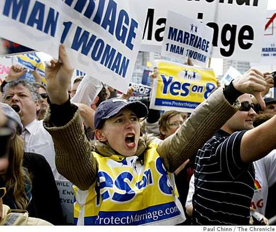 Olena Mikita tries to out shout supporters of same-sex marriages after the California State Supreme Court heard arguments over the constitutionality of Proposition 8. Photo: Paul Chinn, The Chronicle