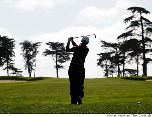 Bonnie Hu tees off on the 21st tee during the final round of the San Francisco City Golf Championship at Harding Park on Sunday, March 8, 2009. Photo: Michael Maloney, The Chronicle