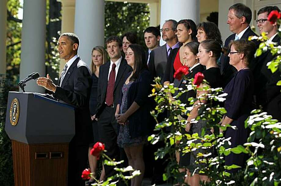 WASHINGTON - OCTOBER 13:  U.S. President Barack Obama speaks during a Rose Garden event about the American Opportunity Tax Credit (AOTC) October 13, 2010 at the White House in Washington, DC. Obama had a meeting with college students and their families onAmerican Opportunity Tax Credit (AOTC) and he urged the Congress to extend college tax credits. Photo: Alex Wong, Getty Images