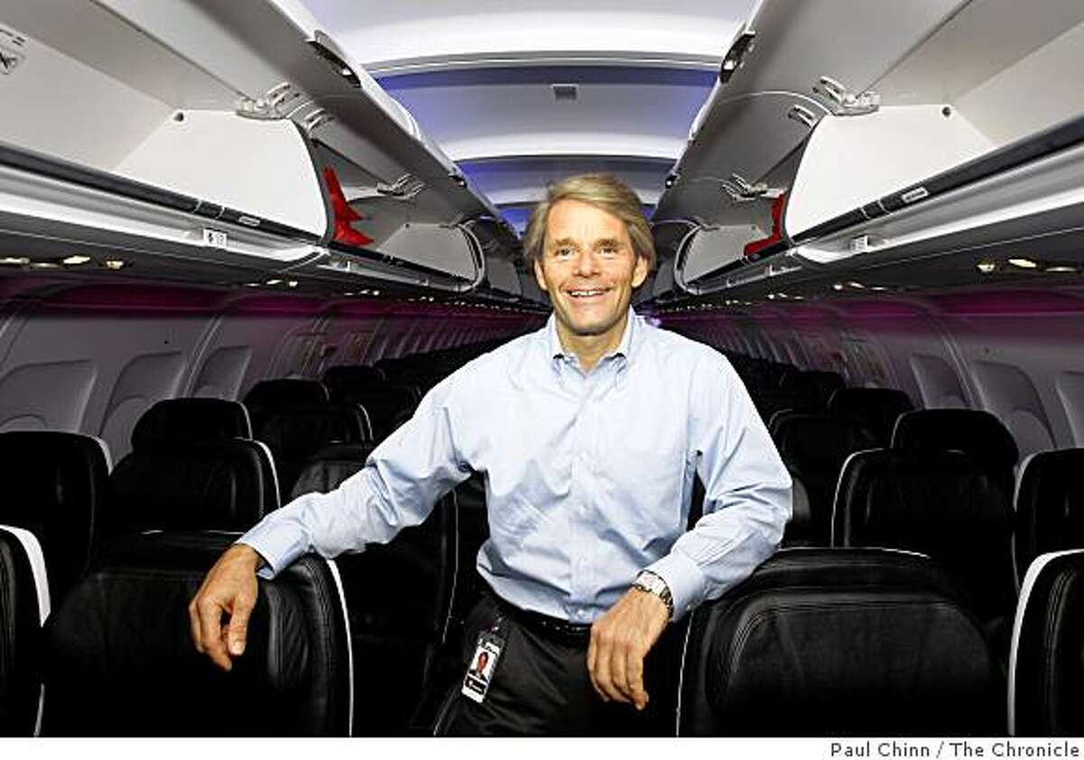 Virgin America Airlines CEO David Cush went on board an Airbus A-320 shortly before it departed for San Diego from San Francisco International Airport in San Francisco, Calif., on Friday, May 16, 2008. The start-up airlines is seeking expansion to include flights to Chicago.Photo by Paul Chinn / San Francisco Chronicle