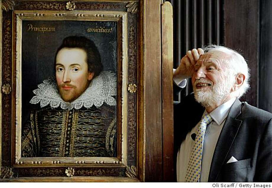 LONDON - MARCH 09:  Professor Stanley Wells, the chairman of The Shakespeare Birthplace Trust, unveils a painting of William Shakespeare which he believes to be the only authentic image of Shakespeare made during his life on March 9, 2009 in London, England. The recently discovered painting, which is believed to date from around 1610, depicts Shakespeare in his mid-forties. The portrait is due to go on display at The Shakespeare Birthplace Trust in Stratford-upon-Avon on April 23, 2009.  (Photo by Oli Scarff/Getty Images) Photo: Oli Scarff, Getty Images