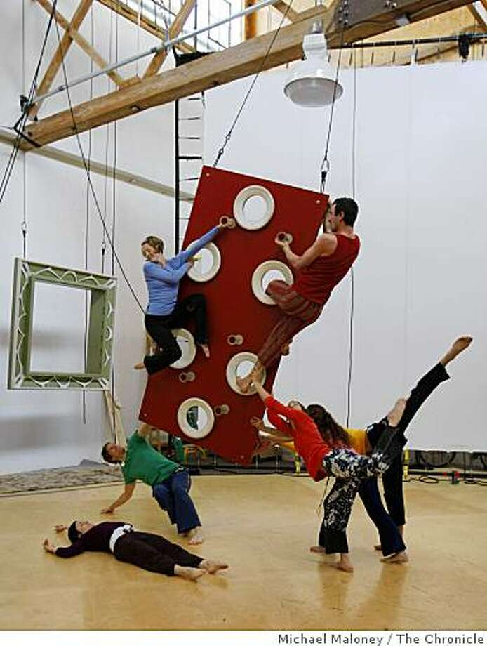 Members of Project Bandaloop rehearse in the company's Oakland, Calif., studio on March 27, 2008.Project Bandaloop, one of the leading aerial and vertical dance companies in the country, will present the California premiere of �Interiors,� at San Francisco�s Cowell Theater at Fort Mason Center. Interiors is a three-part vertical dance piece by choreographer Amelia Rudolph.Photo by Michael Maloney / San Francisco Chronicle Photo: Michael Maloney, The Chronicle