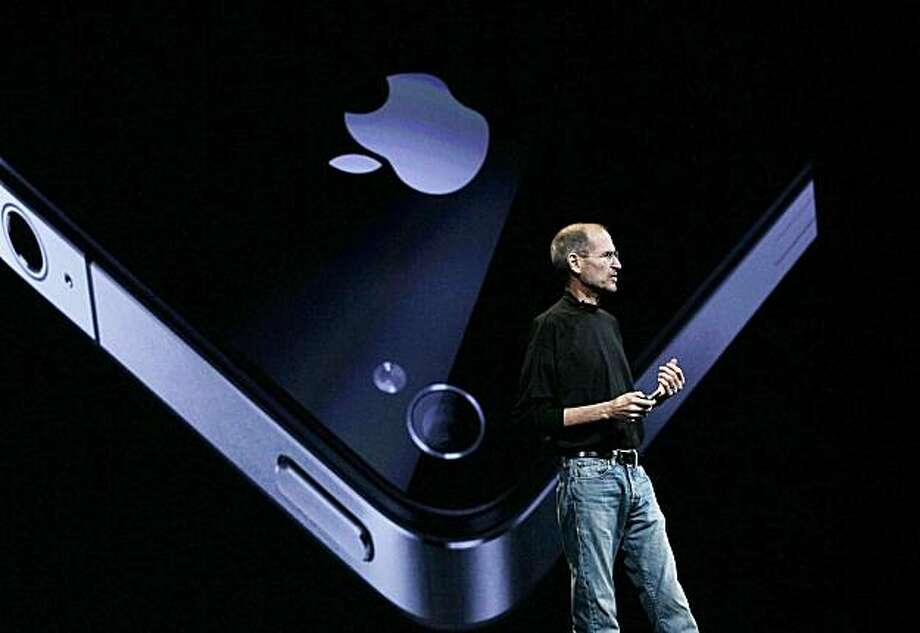 SAN FRANCISCO - JUNE 07:  (FILE PHOTO)  Apple CEO Steve Jobs announces the new iPhone 4 as he delivers the opening keynote address at the 2010 Apple World Wide Developers conference June 7, 2010 in San Francisco, California. Jobs kicked off their annual WWDC with the announcement of the new iPhone 4. Photo: Justin Sullivan, Getty Images
